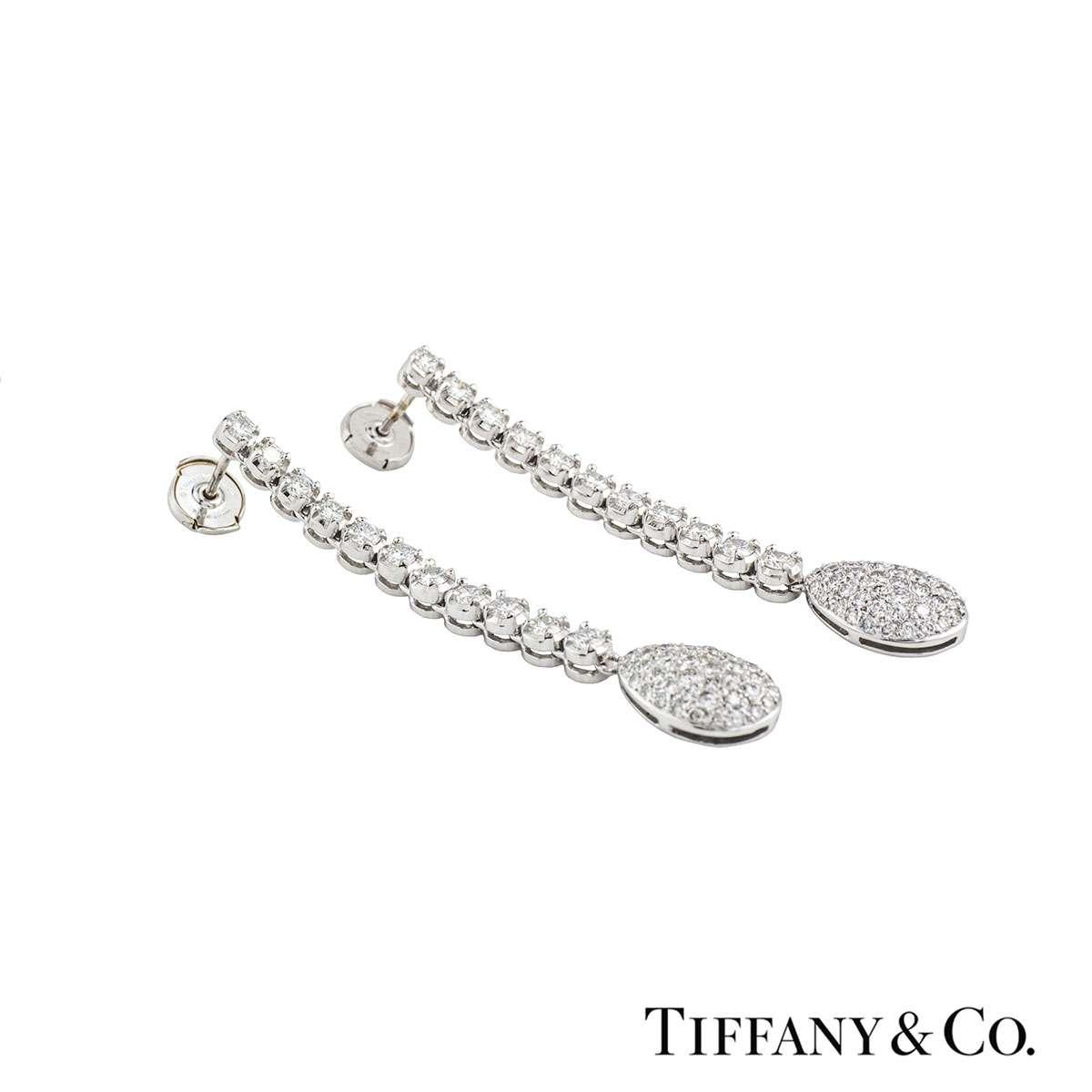 Tiffany Co Diamond Platinum Drop Earrings 5 82ct